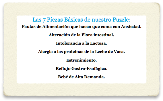 """Las 7 piezas del Puzzle llamado """"Cólico del Lactante""""."""